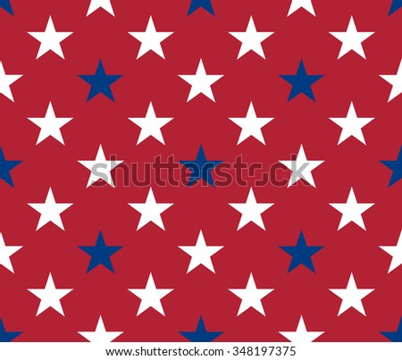 Seamless pattern made from white and red stars - stock vector
