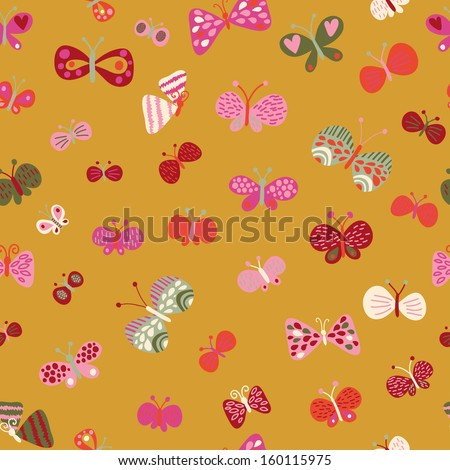 Seamless pattern made of cartoon butterflies. Seamless pattern can be used for wallpaper, pattern fills, web page backgrounds, surface textures. Gorgeous seamless background