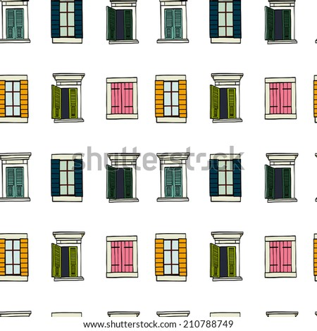 Seamless pattern made of colorful hand drawn sketchy italian windows on white background. - stock vector
