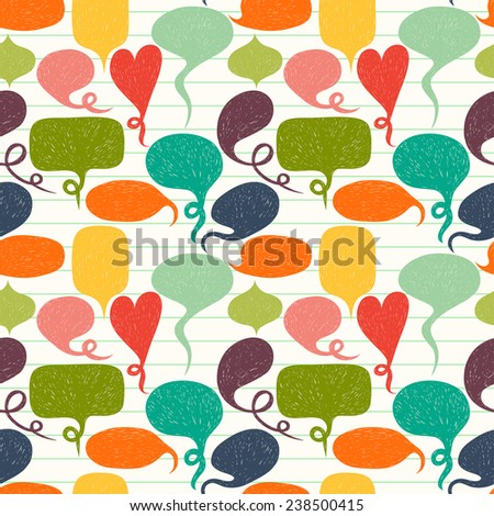 Seamless pattern made of hand drawn speech bubbles on lined notepaper background. Tiling background with colorful doodle cartoon comic bubbles. - stock vector