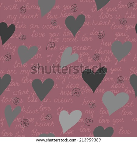 Seamless pattern made of hearts and romantic handwritten words - stock vector