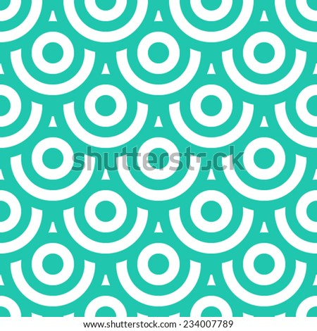 Seamless pattern made of overlaid white and blue green circles - stock vector