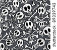 Seamless pattern made of skulls and bones in engravig style. - stock vector