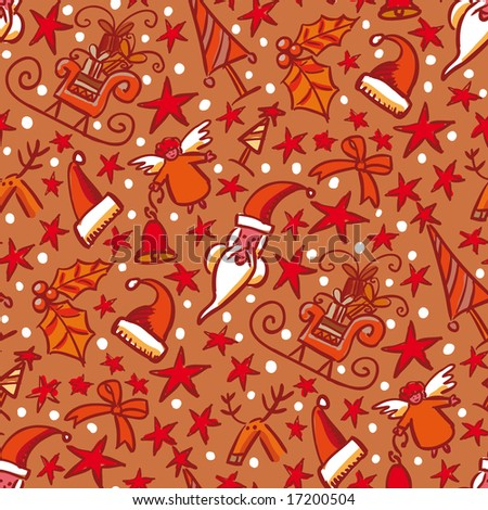 Seamless pattern made of various christmas related objects - stock vector