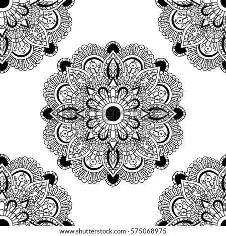 Seamless pattern mandala ornament. Vintage decorative elements. Hand drawn oriental background. Tribal motifs.