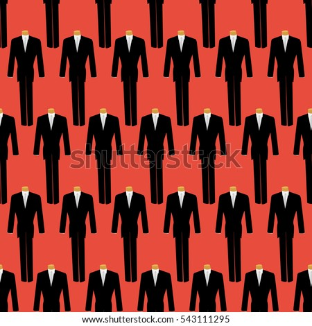 seamless pattern mannequin in a black suit and white shirt and tie on,for clothing texture on the background