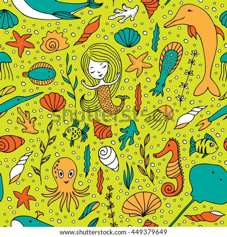 Seamless pattern marine life. Fish, algae, sea animals, seashell, mermaid and bubbles drawn by hand in cartoon style on yellow-green background.