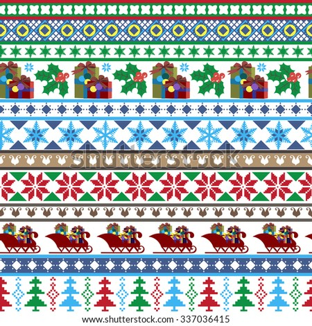 Seamless pattern, Merry Christmas, a Christmas gift items, Christmas trees, Christmas ornaments, sleigh. Print on paper, textiles and ceramics. Vector illustration. - stock vector