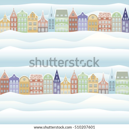 Seamless pattern. Merry Christmas and New Year holidays card with snowy town, vector illustration