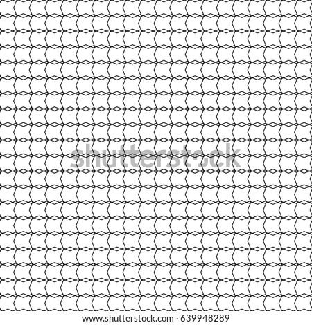 Seamless pattern. Mesh, fishnet, lace. Black thin wavy lines on white backdrop.  Monochrome background, simple repeat texture. Vector.