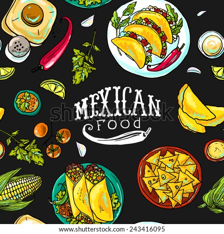seamless pattern mexican food - stock vector