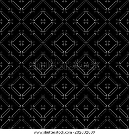 Seamless pattern. Minimal geometrical texture with thin curved lines. Repeating rhombuses and dotted circles. Monochrome. Backdrop. Web. Vector illustration for your design - stock vector