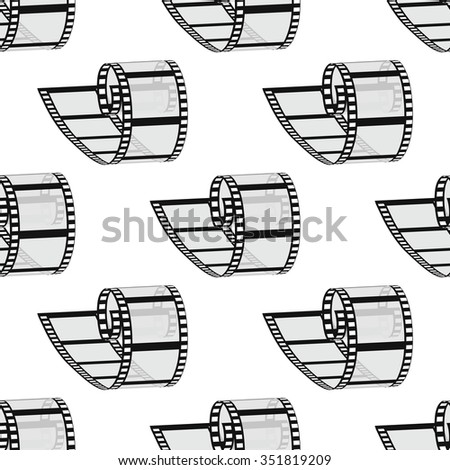 Seamless pattern. 35mm Film roll. Realistic 3D image. Old film strip. Symmetrical repetition. Vector illustration. - stock vector