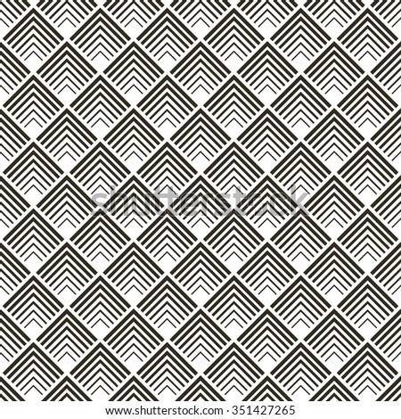 Seamless pattern. Modern stylish texture with corner lines. Regularly repeating tiles with linear diamonds, rhombuses. Vector element of graphic design - stock vector