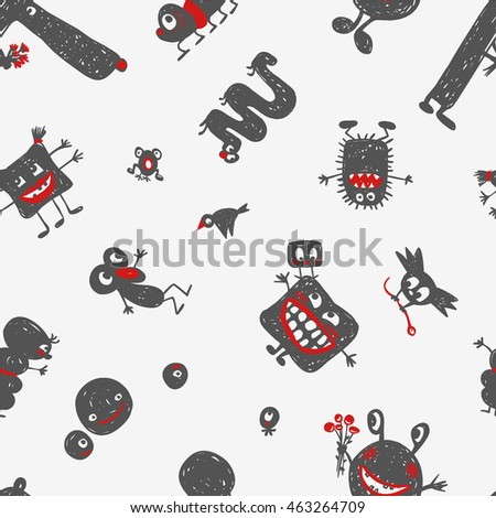 Seamless pattern - monsters