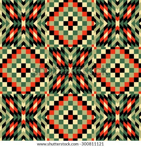 Seamless pattern. Mosaic of red, green, olive, black geometric shapes. Patchwork quilt. Template for design and decoration backgrounds, package, covers, textile. Abstract vector illustration. - stock vector