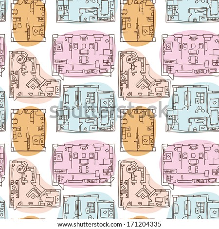 Seamless pattern moving house map, apartments, flat - stock vector