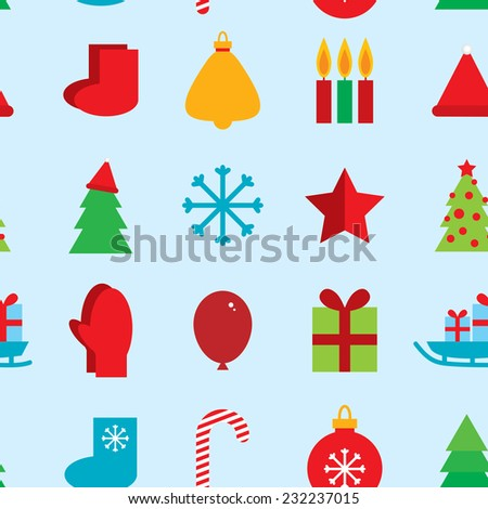 seamless pattern new year snowflakes, socks, mittens, Christmas tree, gifts, sleigh, star, candle on blue background. vector