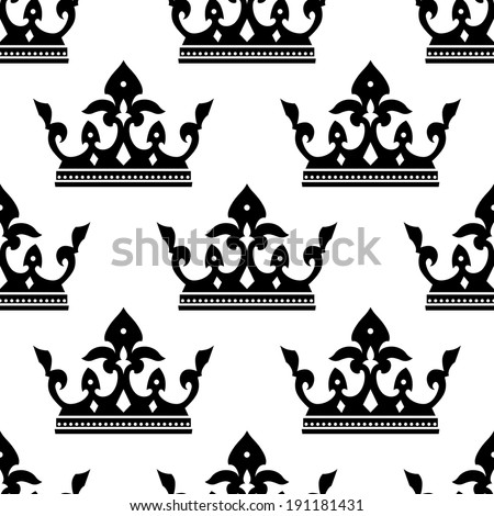 Seamless pattern of a dainty heraldic royal crown silhouettes in square format for wallpaper or textile design - stock vector