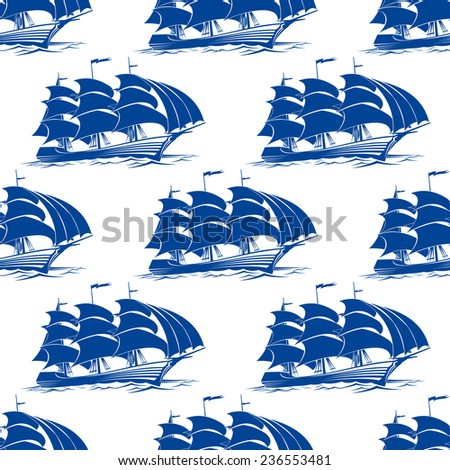 Seamless pattern of a fully rigged sailing ship with blue sails in side view for marine or nautical concepts - stock vector