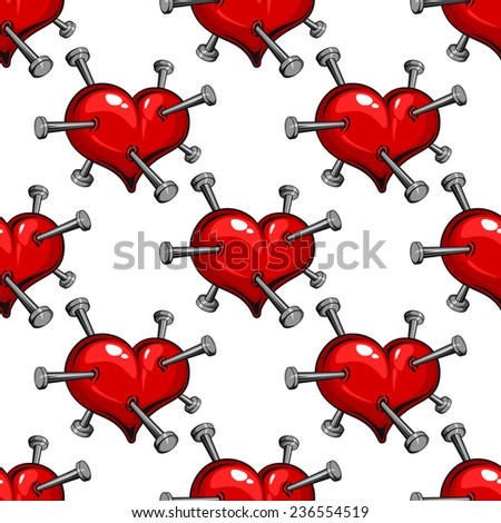 Seamless pattern of a nail studded red heart symbolic of the pain of love or ill health - stock vector