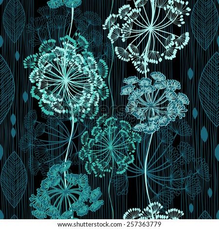 Seamless pattern of abstract flowers. Hand-drawn floral background. - stock vector