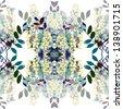Seamless pattern of acacia - stock vector