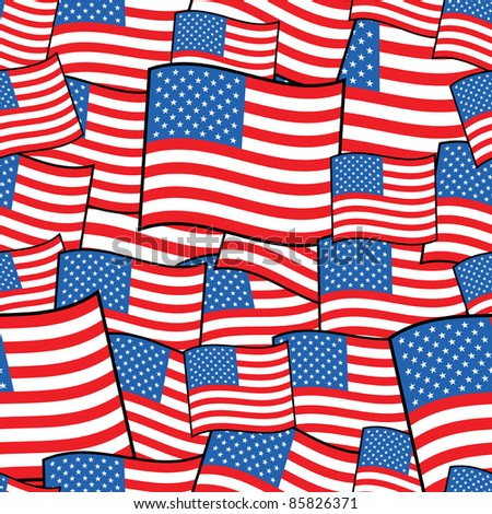 seamless pattern of american flags with clipping path