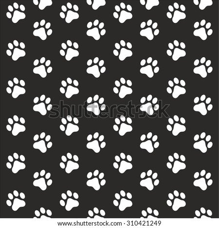 Seamless pattern of animal white paw print on black background - stock vector