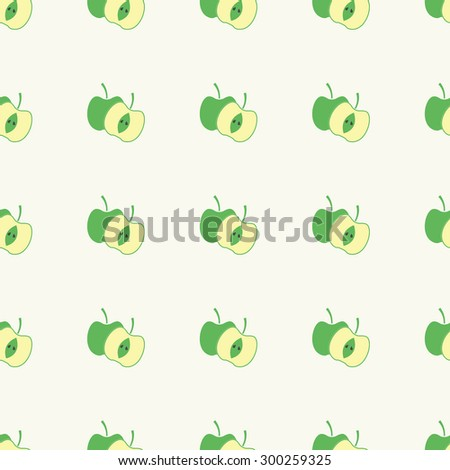 Seamless pattern of apple fruit sliced in half with seed  vector illustration - stock vector