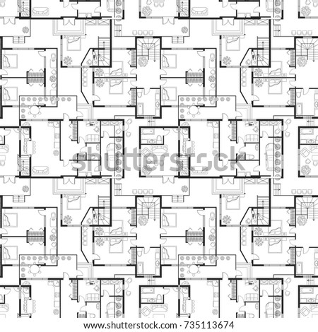 Seamless Pattern Architectural Plans House Layout Stock Vector