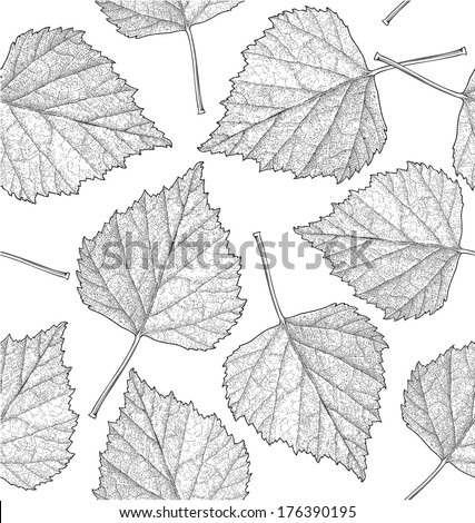 Seamless pattern of autumn leaves. Vector illustration, isolated, grouped, transparent background. - stock vector