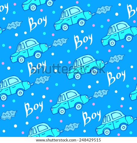Seamless pattern of baby car - stock vector