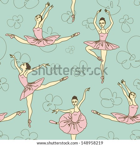Seamless pattern of ballet dancers in different poses - stock vector