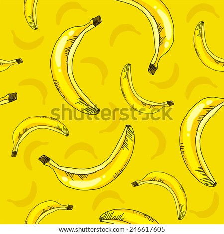 Seamless pattern of bananas - stock vector