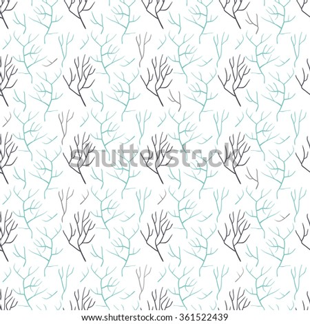 Seamless pattern of bare tree branches. It contains the bare branches of different colors, shapes and sizes. The branches are gray and blue. White background. - stock vector