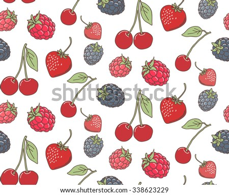 Seamless pattern of berries - strawberry, blackberry, raspberry, cherry, vector - stock vector