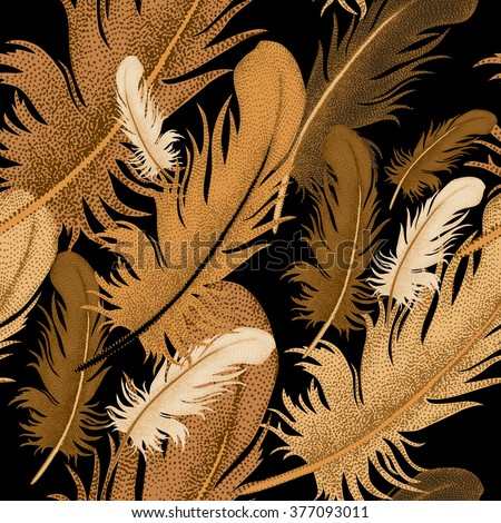 Seamless pattern of bird feathers. Decorative composition of golden bird feathers on a black background. Design of natural motifs. Illustration of vector ornament bird feathers. - stock vector