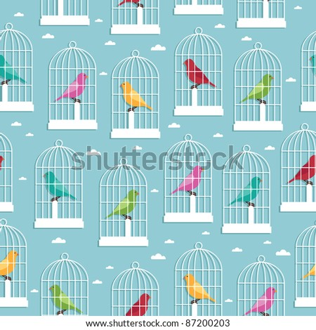 seamless pattern of birdcages and birds, with clipping path - stock vector