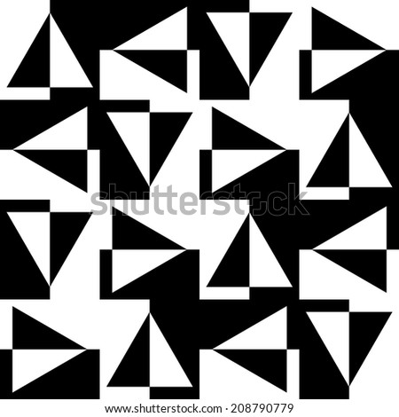 Seamless pattern of black and white triangles