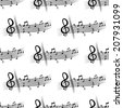 Seamless pattern of black colored music notes over white background - stock vector
