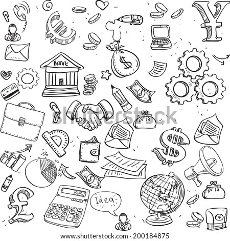 Seamless pattern of black doodles on business theme 3 - stock vector