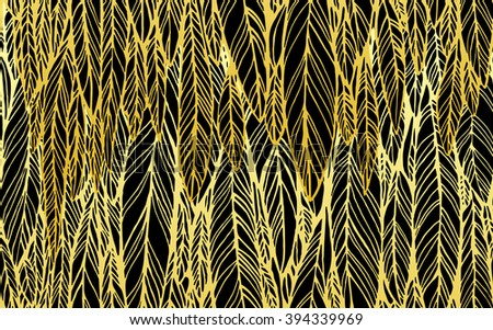 Seamless pattern of black gold feathers, leaves, optical illusion, vector illustration - stock vector