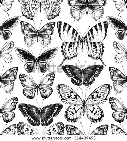 Seamless pattern of black silhouettes of butterflies on white background, hand-drawn illustration. - stock vector