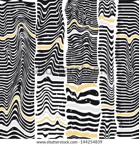 Seamless pattern of black stripes similar to a zebra - stock vector