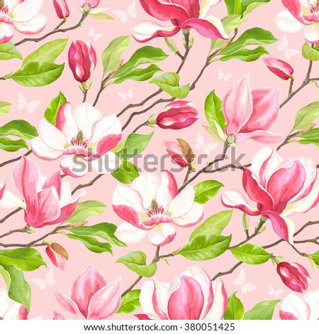 Seamless pattern of blooming branches magnolia, vector illustration on soft pink background with butterflies. - stock vector
