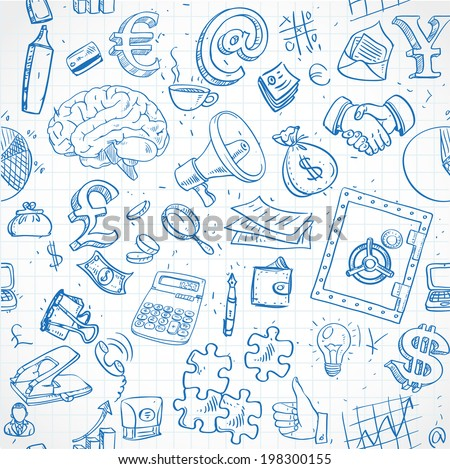 Seamless pattern of blue doodles on business and money theme on paper of cells