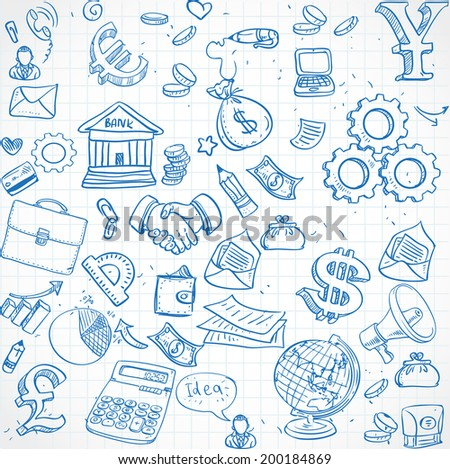 Seamless pattern of blue doodles on business theme 3 - stock vector
