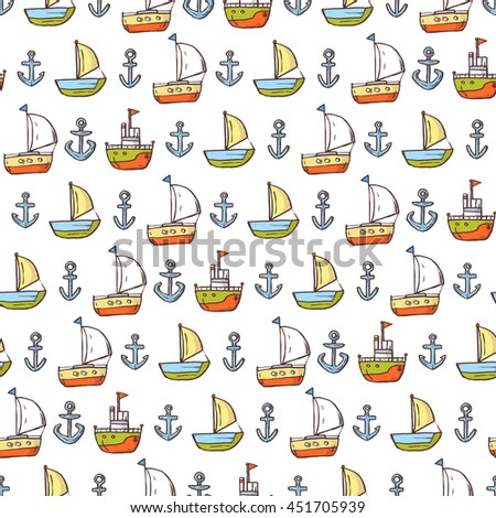 Seamless pattern of boats, lighthouse and anchor on white background. Sketch Style. - stock vector