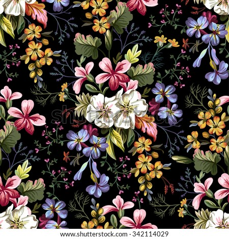 seamless pattern of bouquet of decorative flowers on a black background